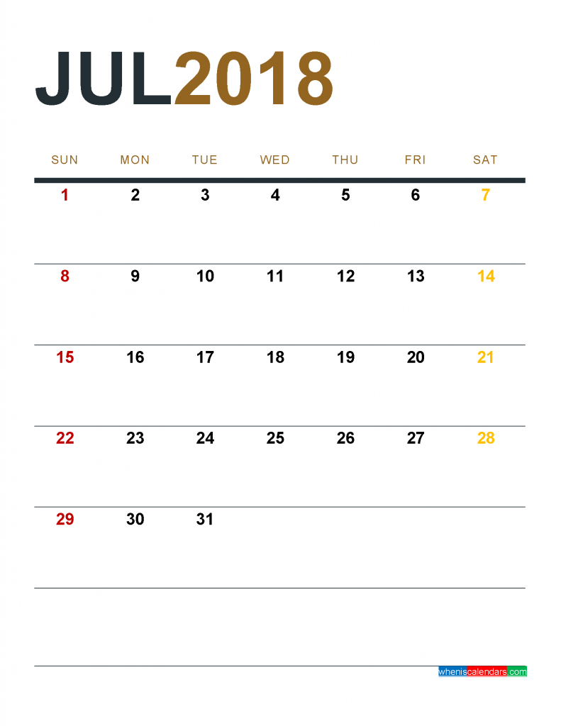July 2018 Calendar Printable as PDF and Image 1 Month 1 Page