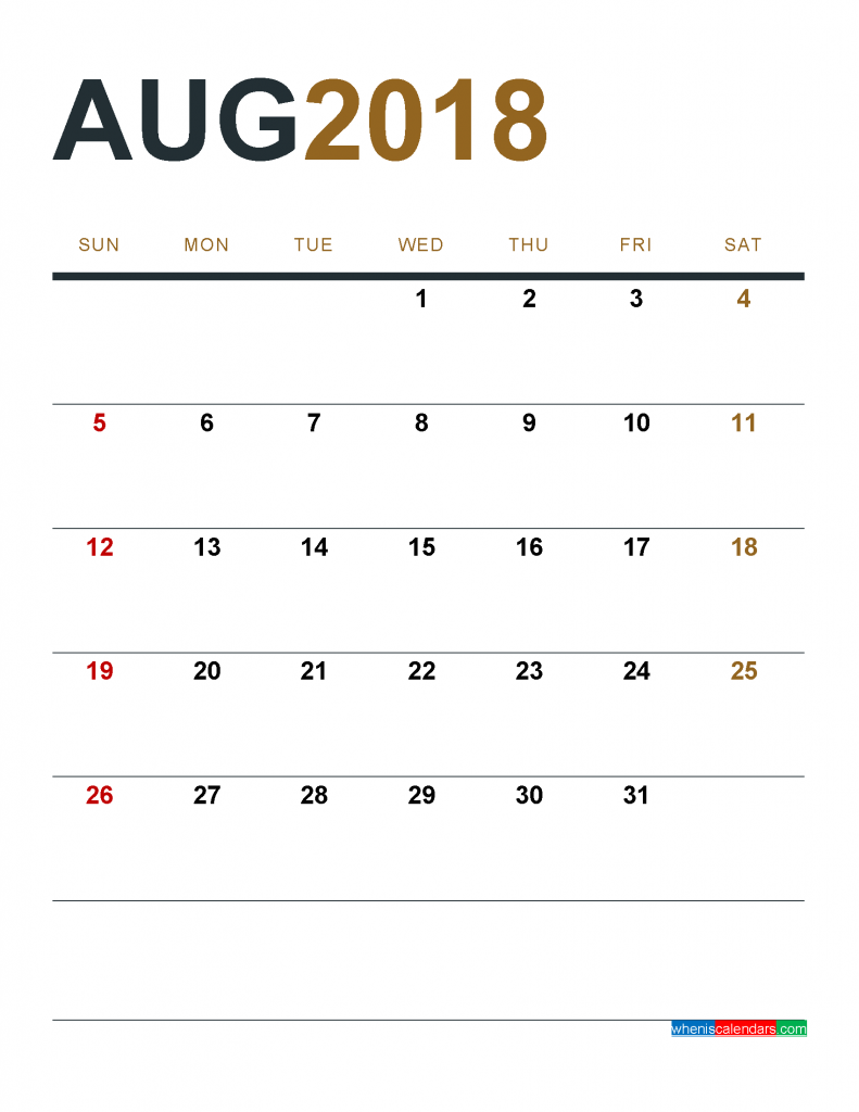 August 2018 Calendar Printable as PDF and Image 1 Month 1 Page