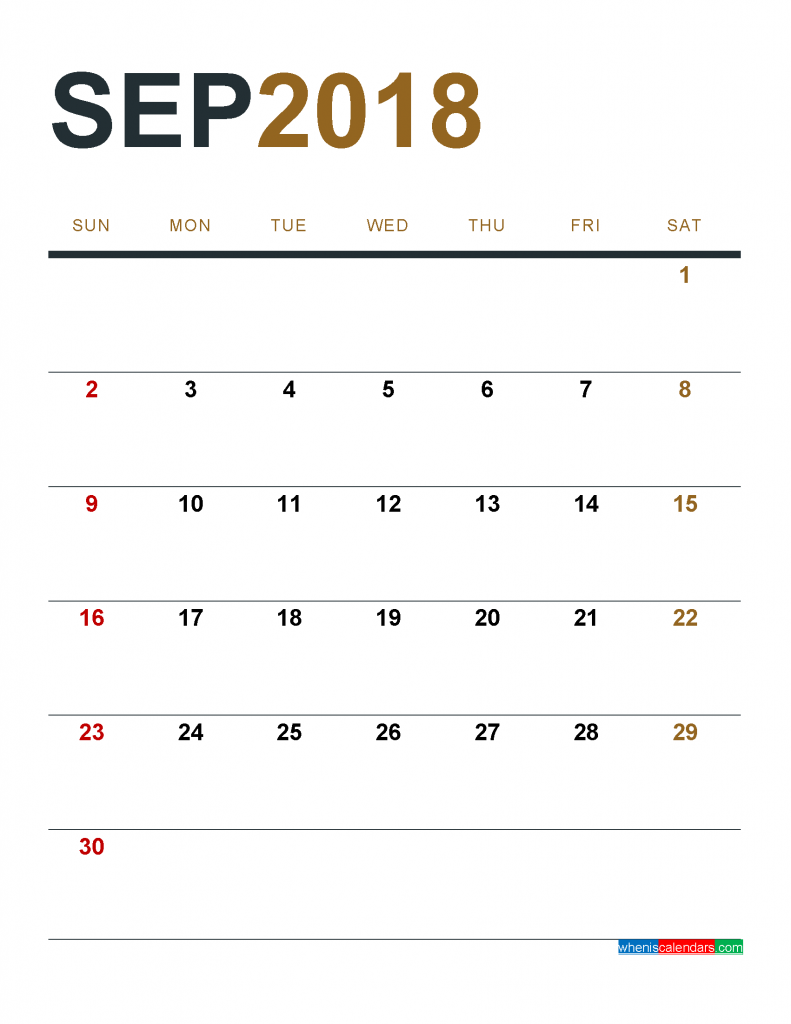 September 2018 Calendar Printable as PDF and Image 1 Month 1 Page