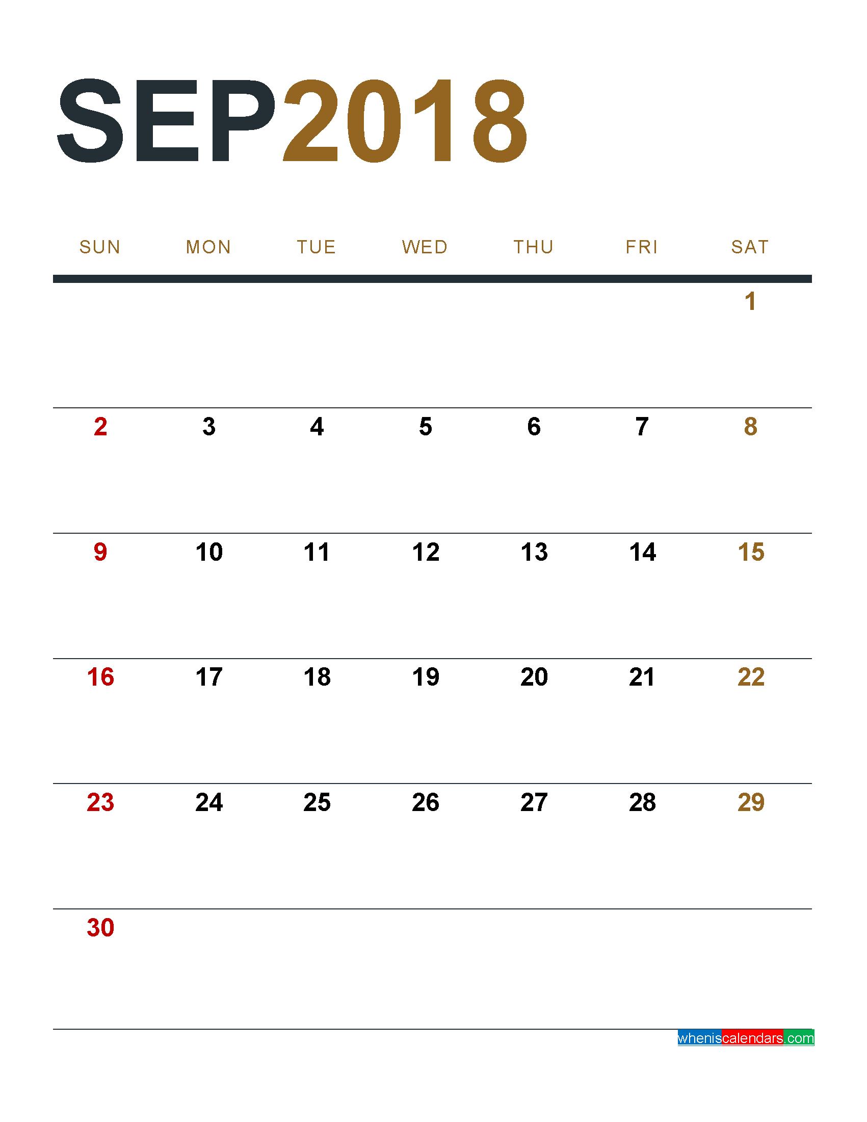 September 2018 Calendar Printable as PDF and Image 1 Month 1