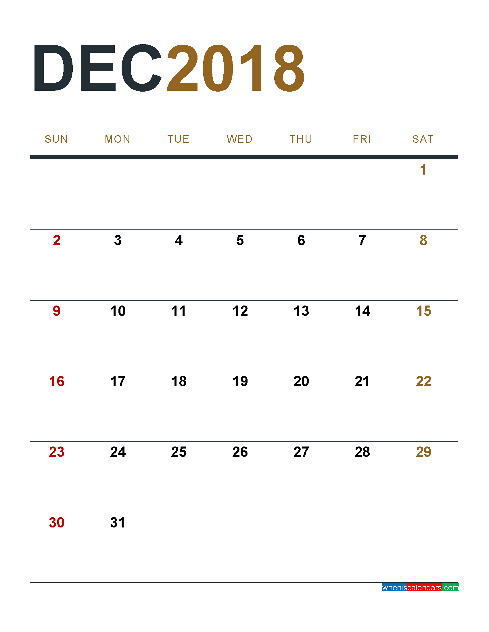 December 2018 Calendar Printable As Pdf And Image 1 Month 1 Page