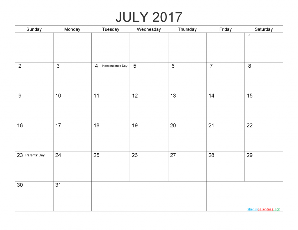Free Printable Calendar July 2017 Monthly Calendar Template