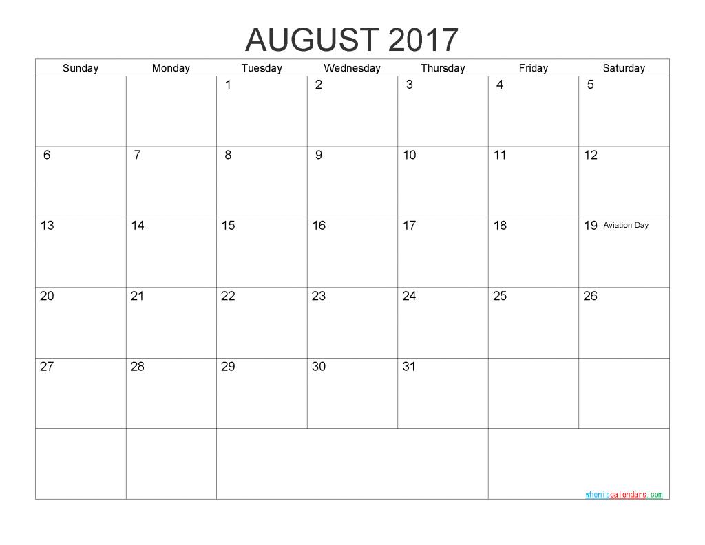 Free Printable Calendar August 2017 Monthly Calendar Template