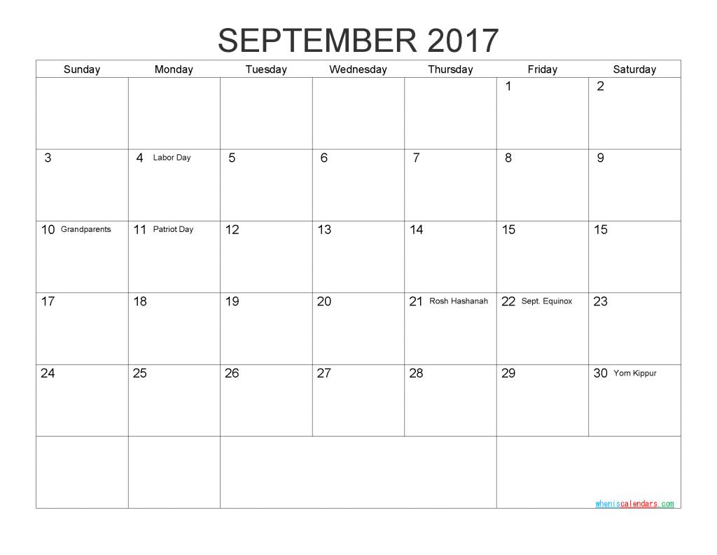 Free Printable Calendar September 2017 Monthly Calendar Template