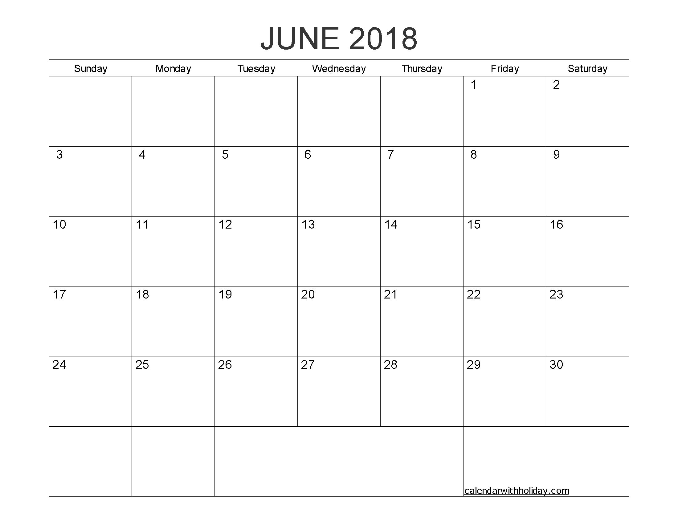 june 2018 blank calendar