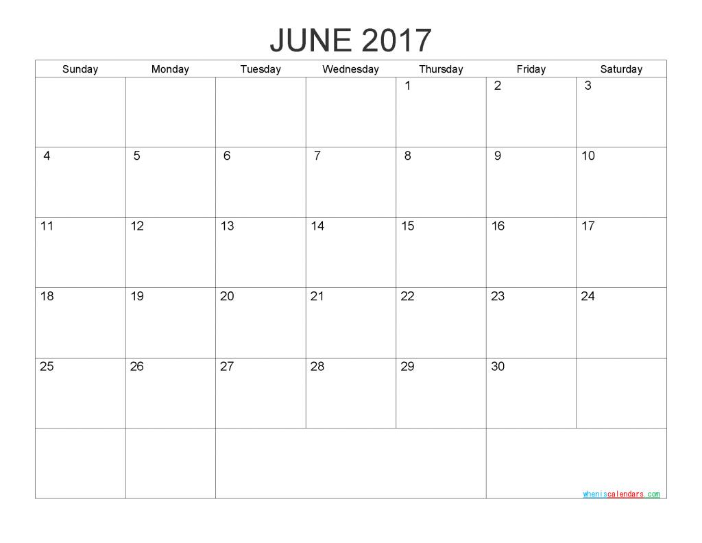June 2017 Blank Calendar Printable PDF, Word, Image