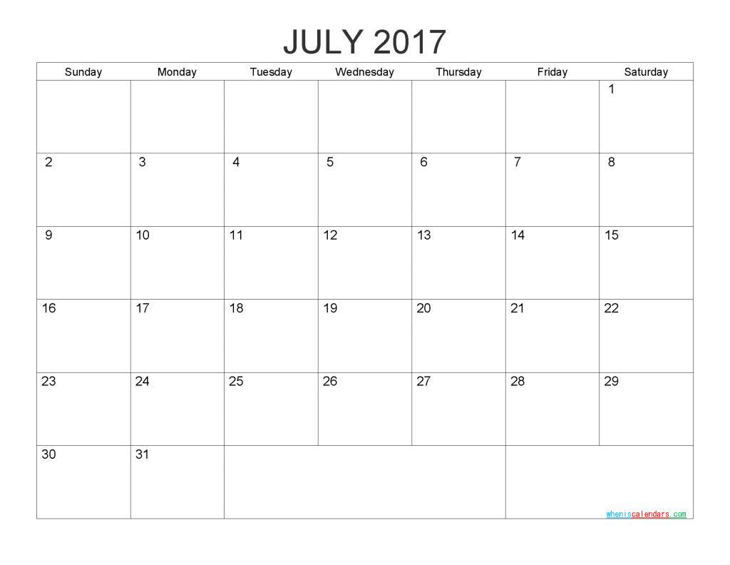 July 2017 Blank Calendar Printable PDF, Word, Image