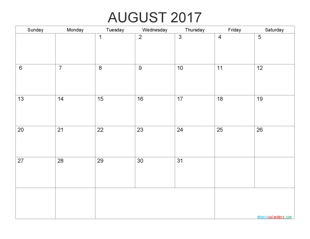 August 2017 Blank Calendar Printable PDF, Word, Image