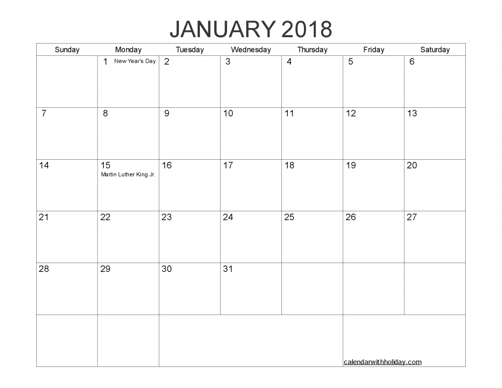 Printable Calendar January 2018 with Holidays PDF, Image