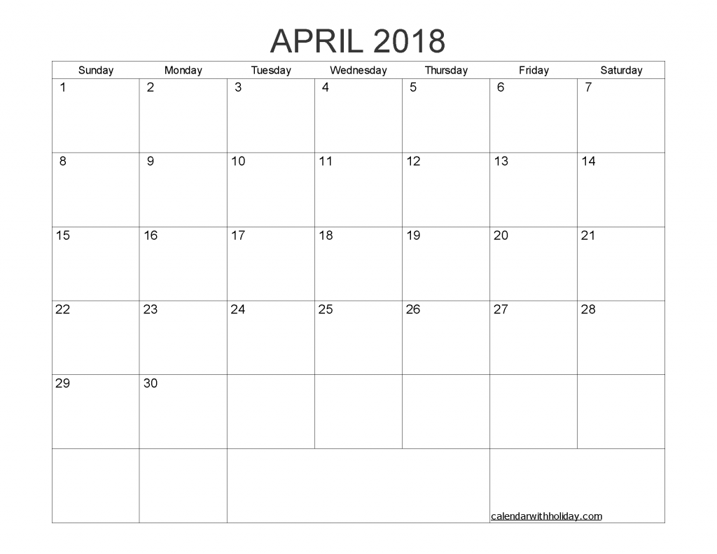 Printable Calendar April 2018 with Holidays PDF, Image