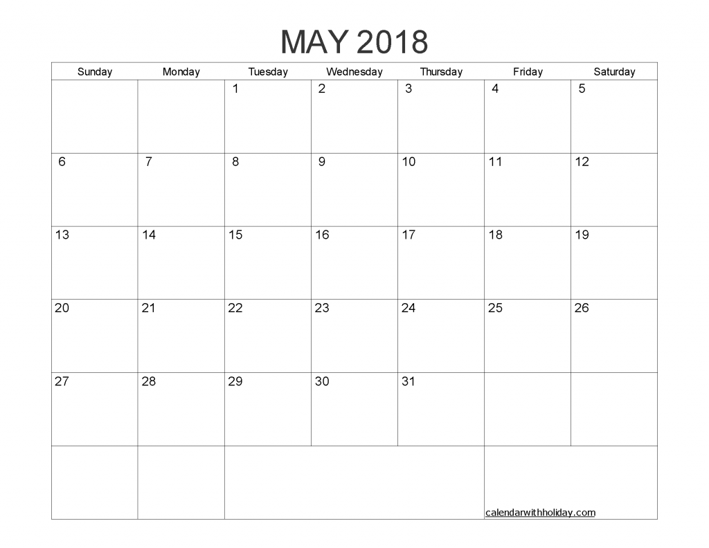 Free Printable Calendar May 2018 as PDF and Image
