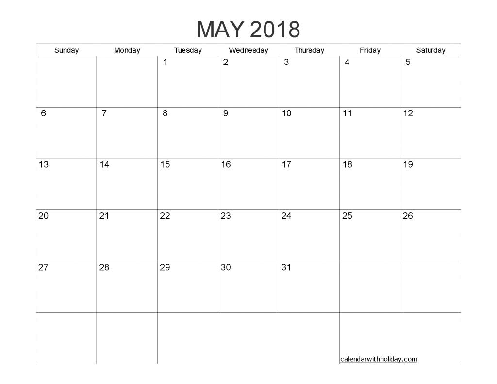 Free Printable Calendar May 2018 as PDF and Image