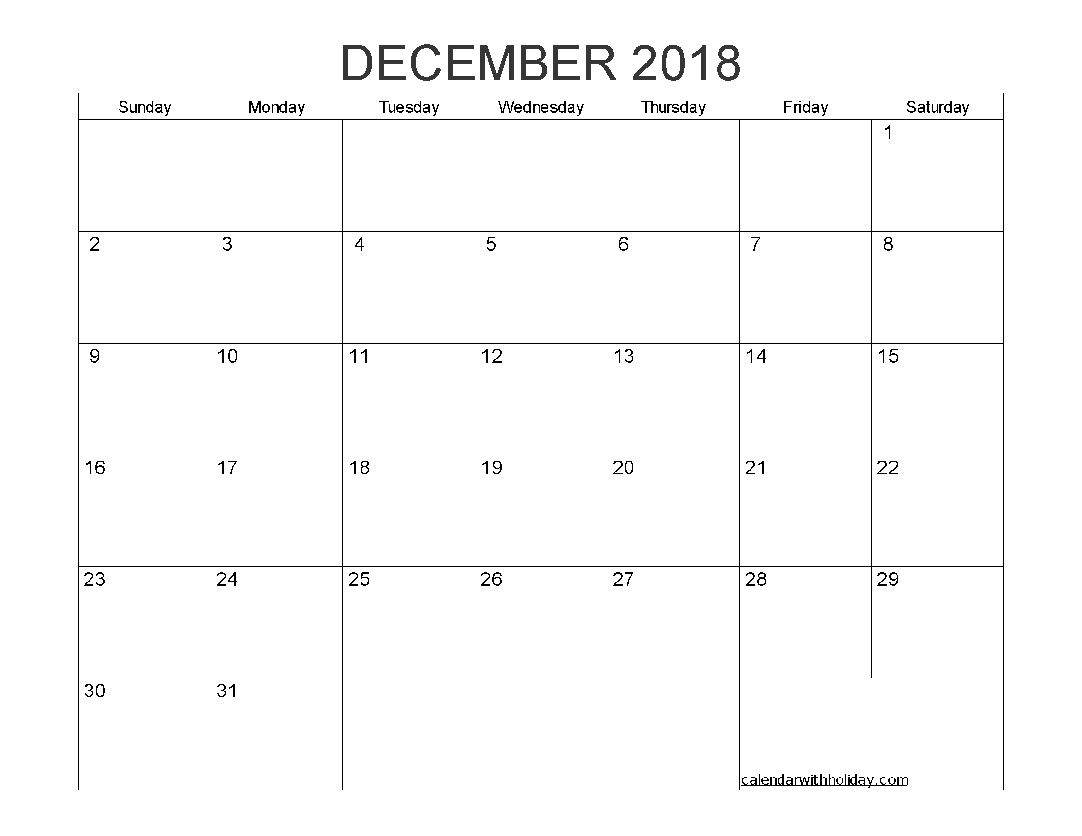 Free Printable Calendar December 2018 as PDF and Image