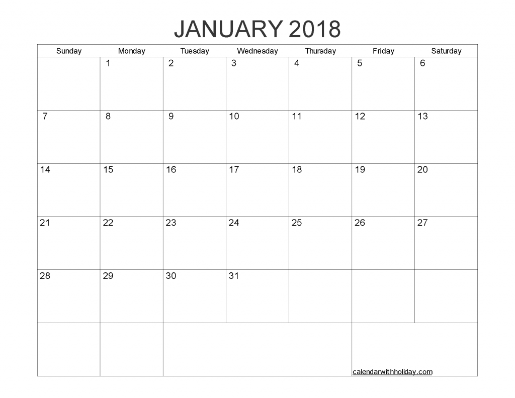 Blank Calendar January 2018 Printable 1 Month Calendar Template