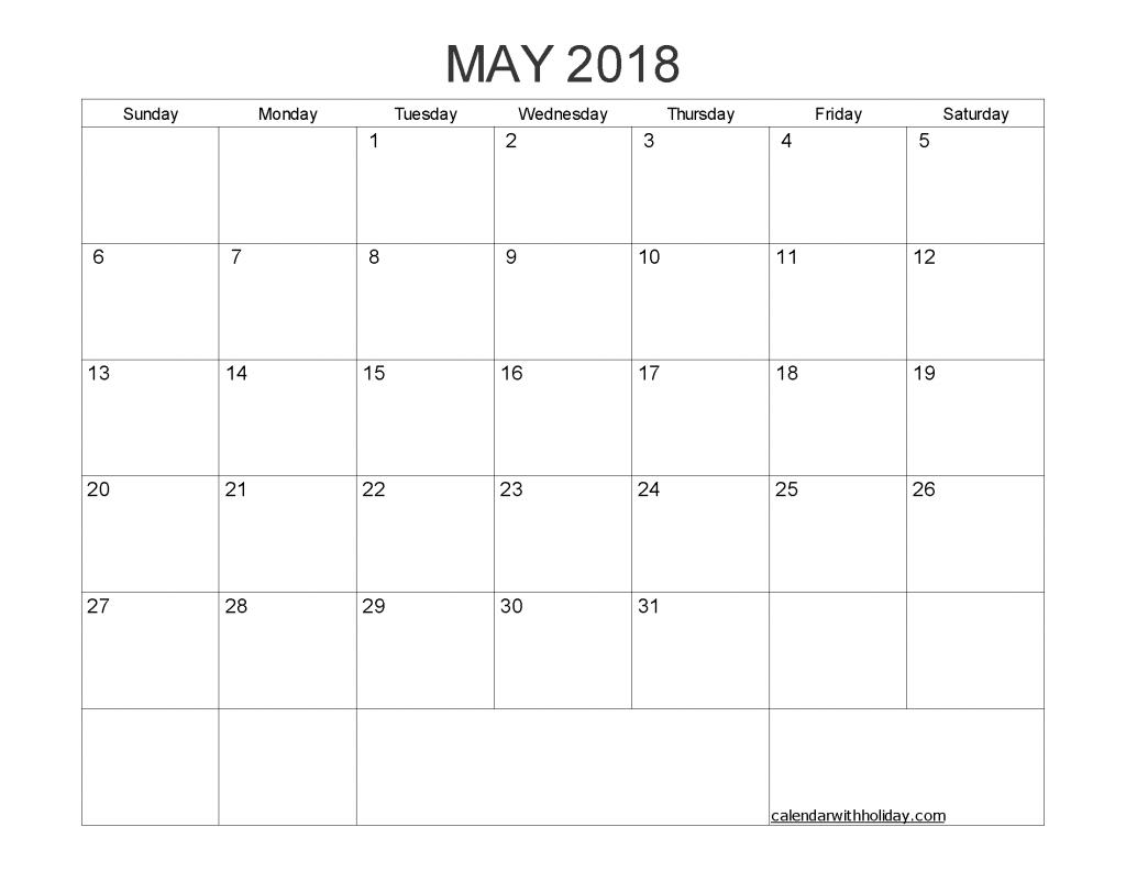 Blank Calendar May 2018 Printable 1 Month Calendar Template