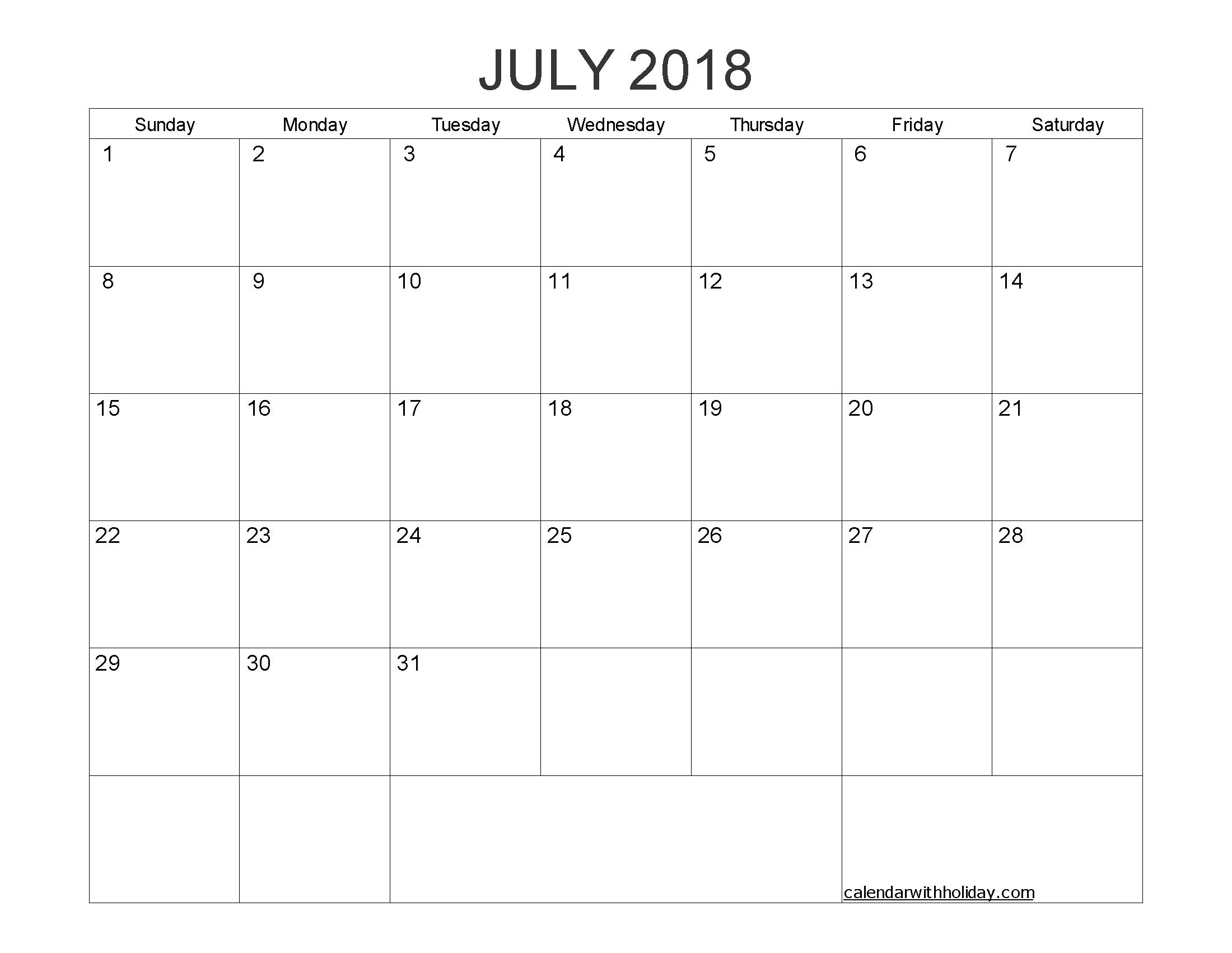 Blank Calendar July 2018 Printable 1 Month Calendar Template 2018