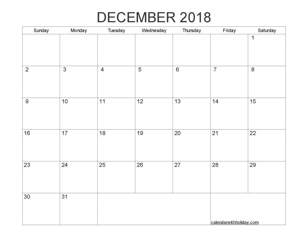 Blank Calendar December 2018 Printable 1 Month Calendar Template