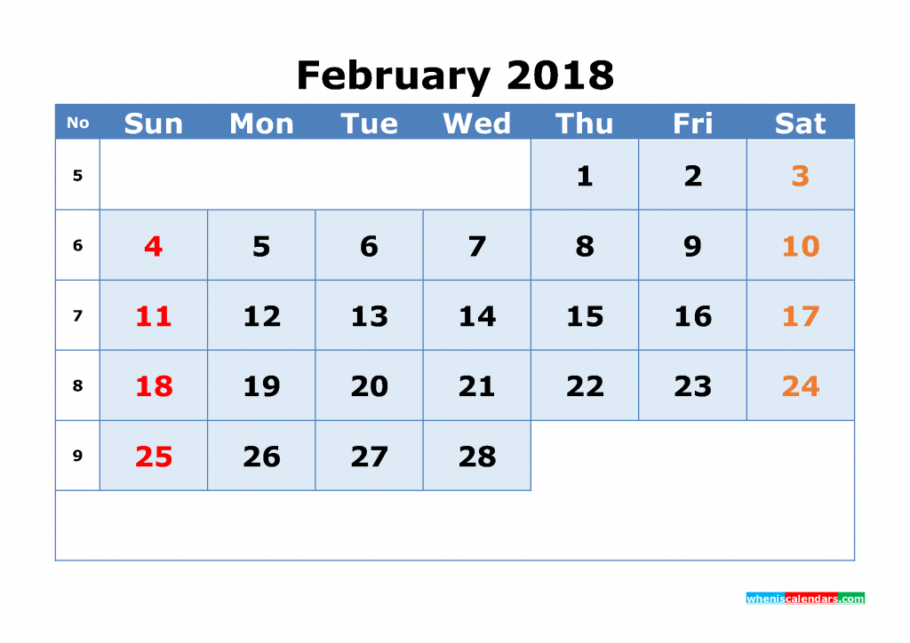 February 2018 Calendar with Week Numbers Printable 1 Month Calendar (1 month in 1 page)