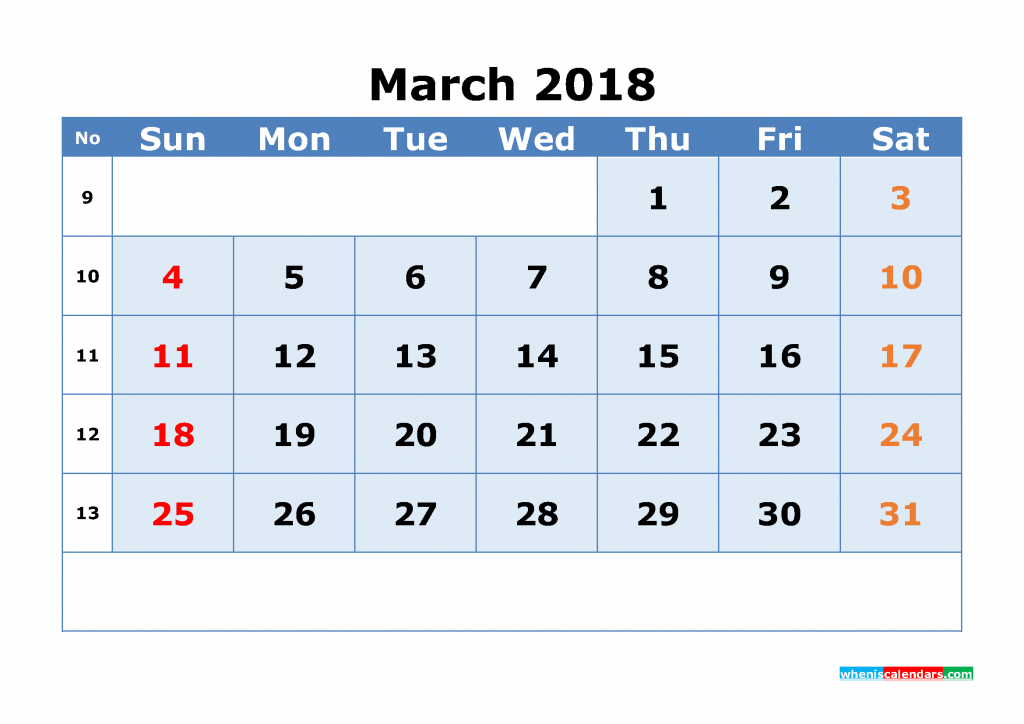 March 2018 Calendar with Week Numbers Printable 1 Month Calendar (1 month in 1 page)