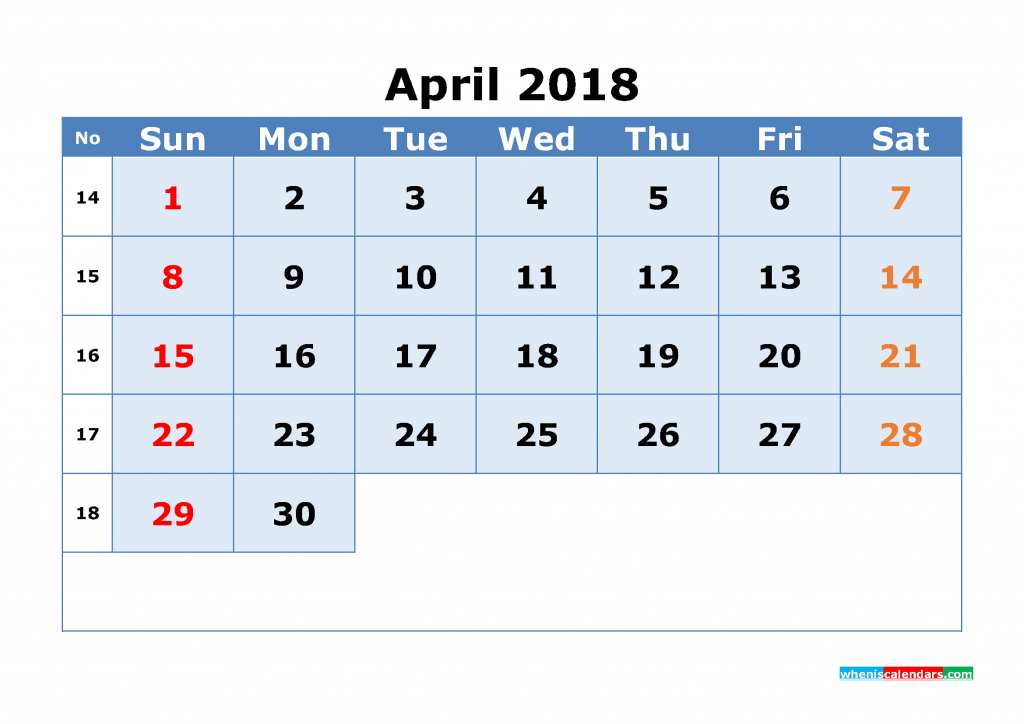 April 2018 Calendar with Week Numbers Printable 1 Month Calendar (1 month in 1 page)