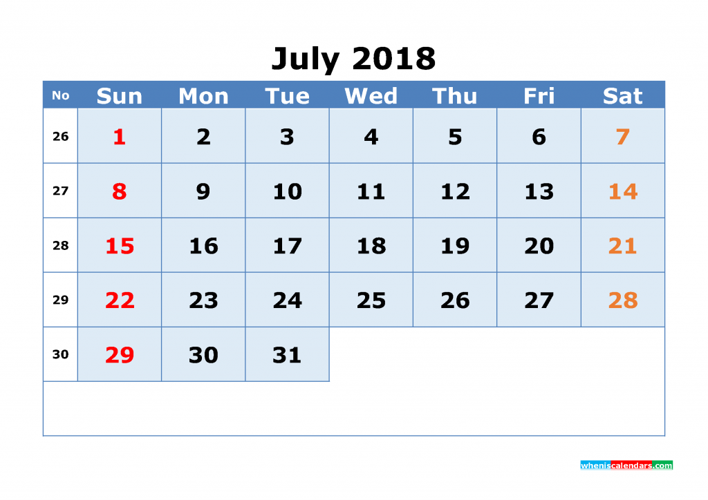 July 2018 Calendar with Week Numbers Printable 1 Month Calendar (1 month in 1 page)
