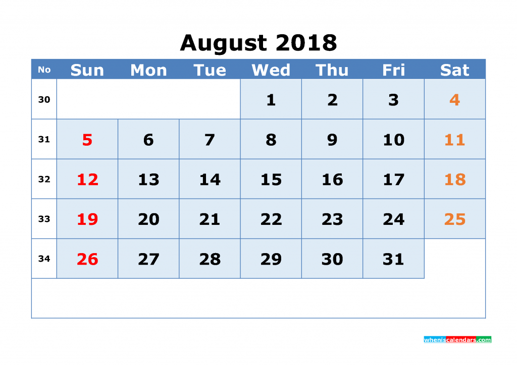 August 2018 Calendar with Week Numbers Printable 1 Month Calendar (1 month in 1 page)