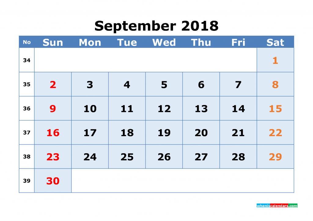 september 2018 calendar with week numbers printable 1