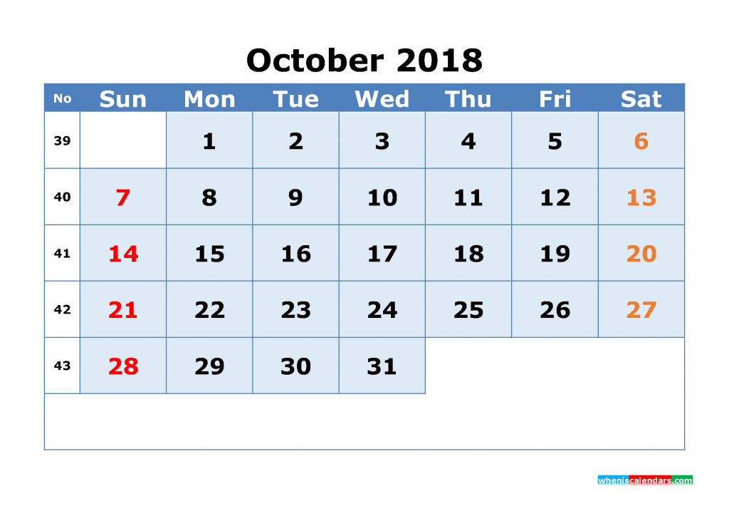 October 2018 Calendar with Week Numbers Printable 1 Month Calendar (1 month in 1 page)