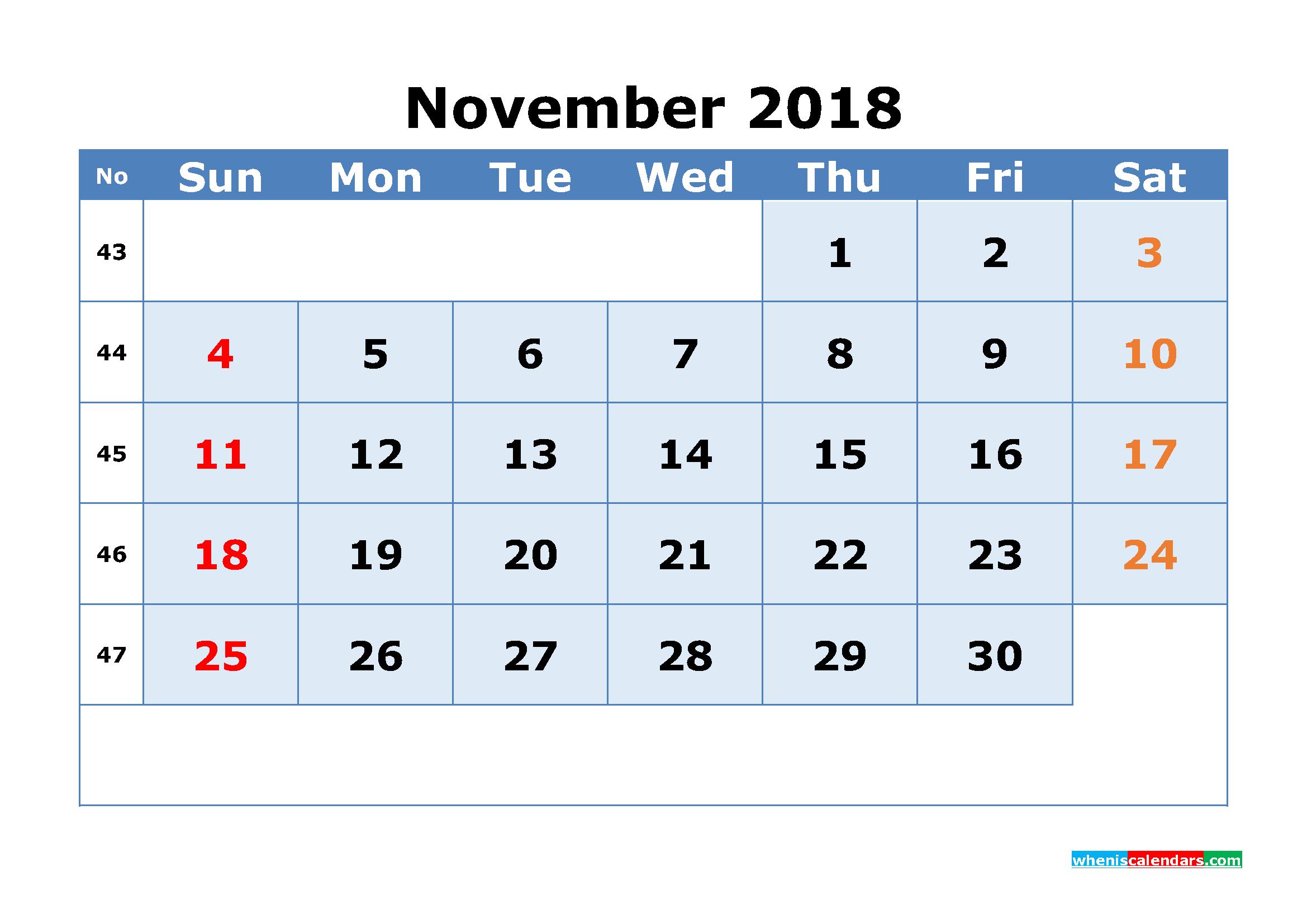 download november 2018 calendar