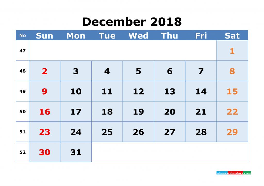 December 2018 Calendar with Week Numbers Printable 1 Month Calendar (1 month in 1 page)