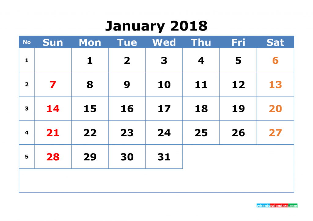 Free January 2018 Calendar with Week Numbers Printable Monthly Calendar Template