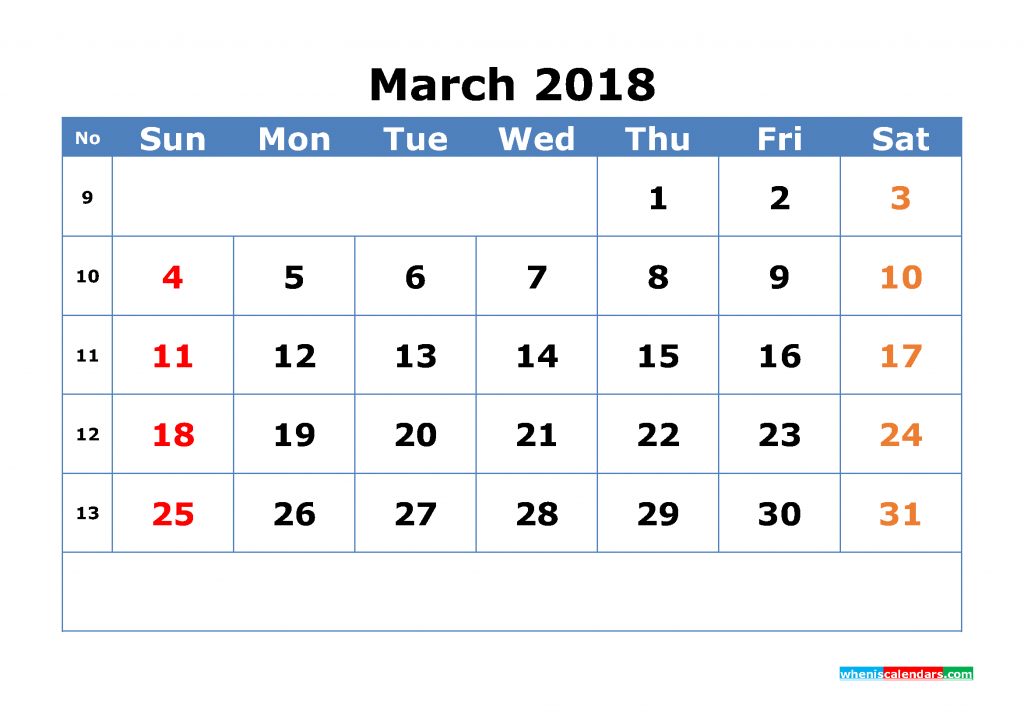 Free March 2018 Calendar with Week Numbers Printable Monthly Calendar Template