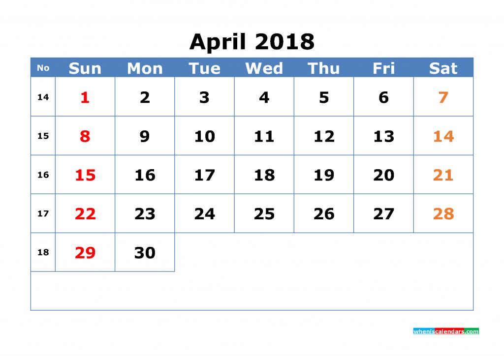 Free April 2018 Calendar with Week Numbers Printable Monthly Calendar Template