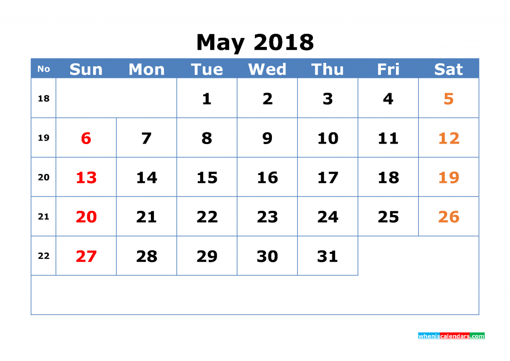 Free May 2018 Calendar with Week Numbers Printable Monthly Calendar Template
