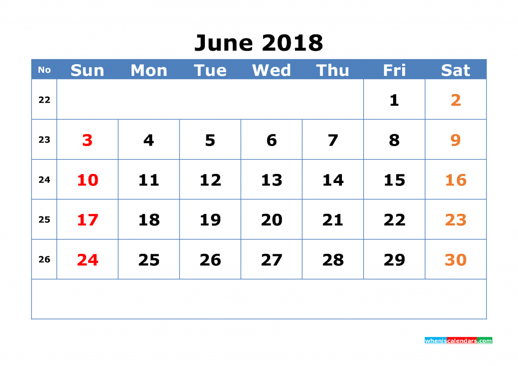 Free June 2018 Calendar with Week Numbers Printable Monthly Calendar Template