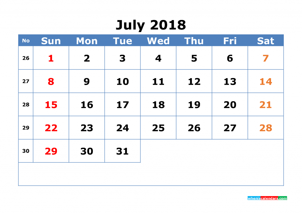 Free July 2018 Calendar with Week Numbers Printable Monthly Calendar Template
