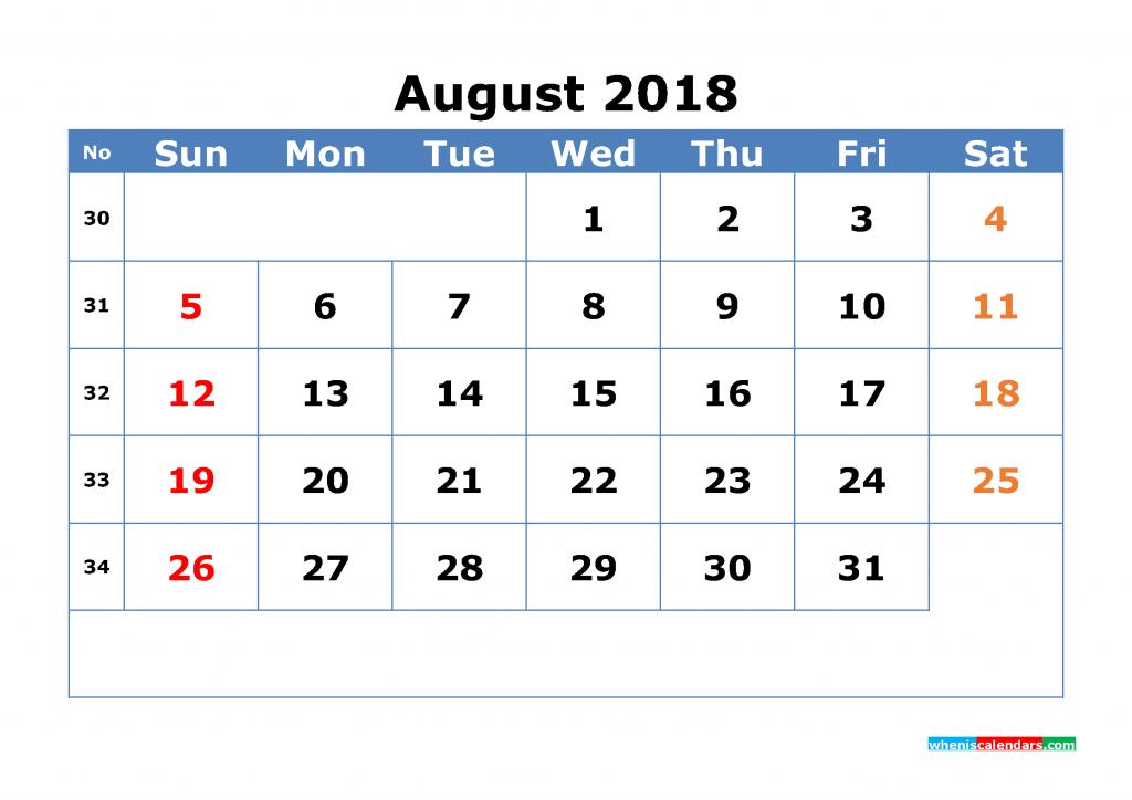 Free August 2018 Calendar with Week Numbers Printable Monthly Calendar Template