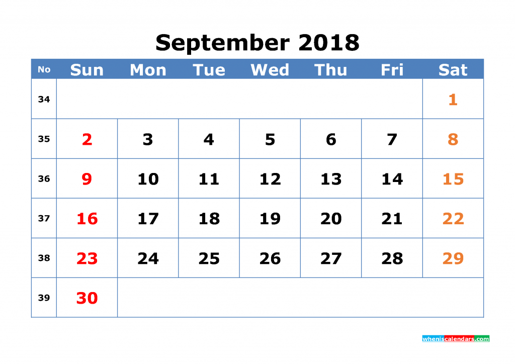 Free September 2018 Calendar with Week Numbers Printable Monthly Calendar Template
