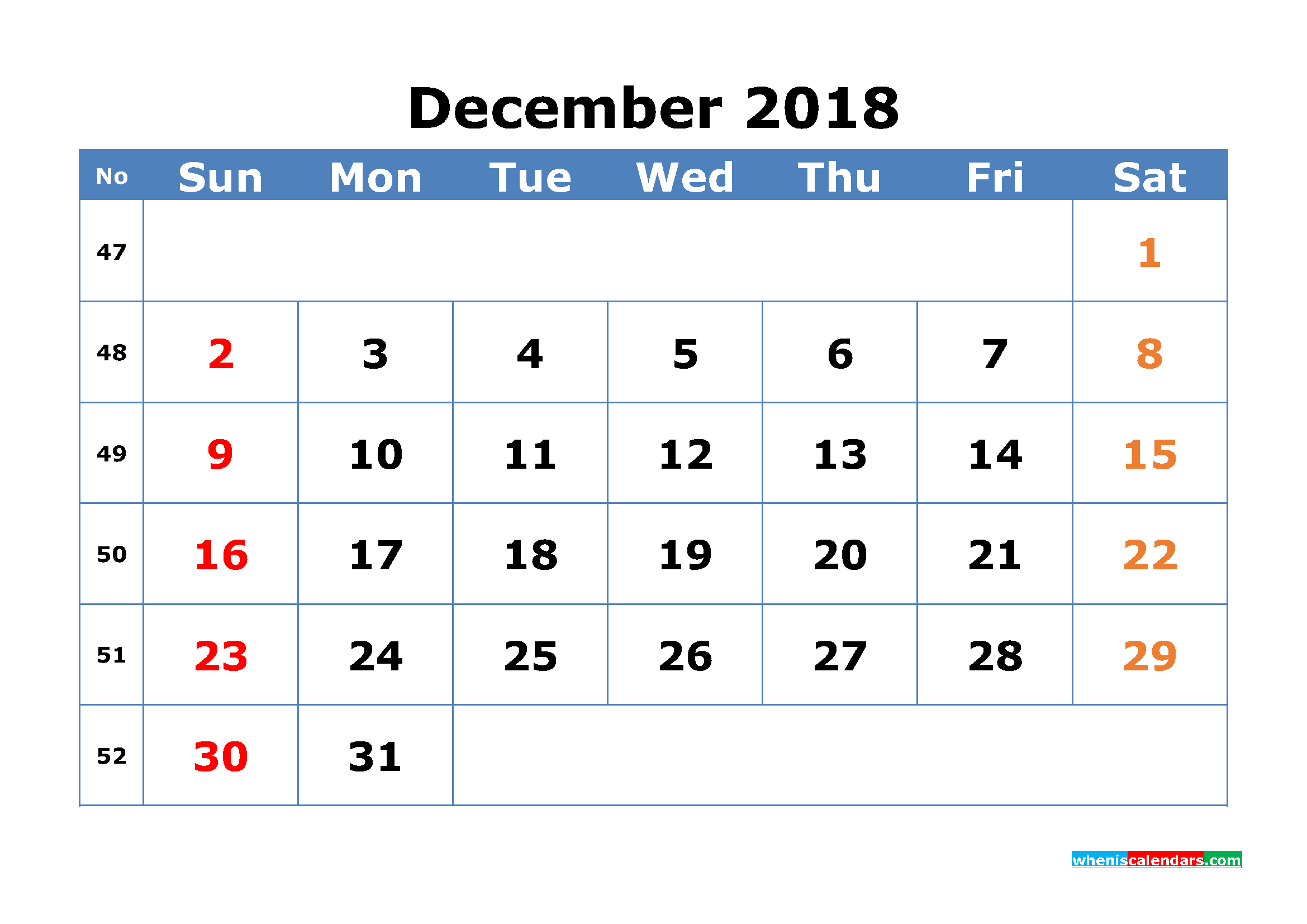 Free December 2018 Calendar with Week Numbers Printable Monthly Calendar Template