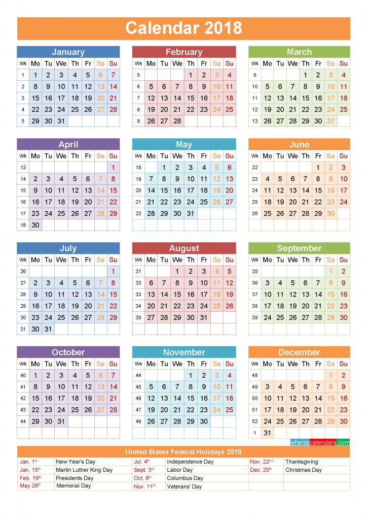 2018 Calendar with Holidays Printable as PDF and Image ...