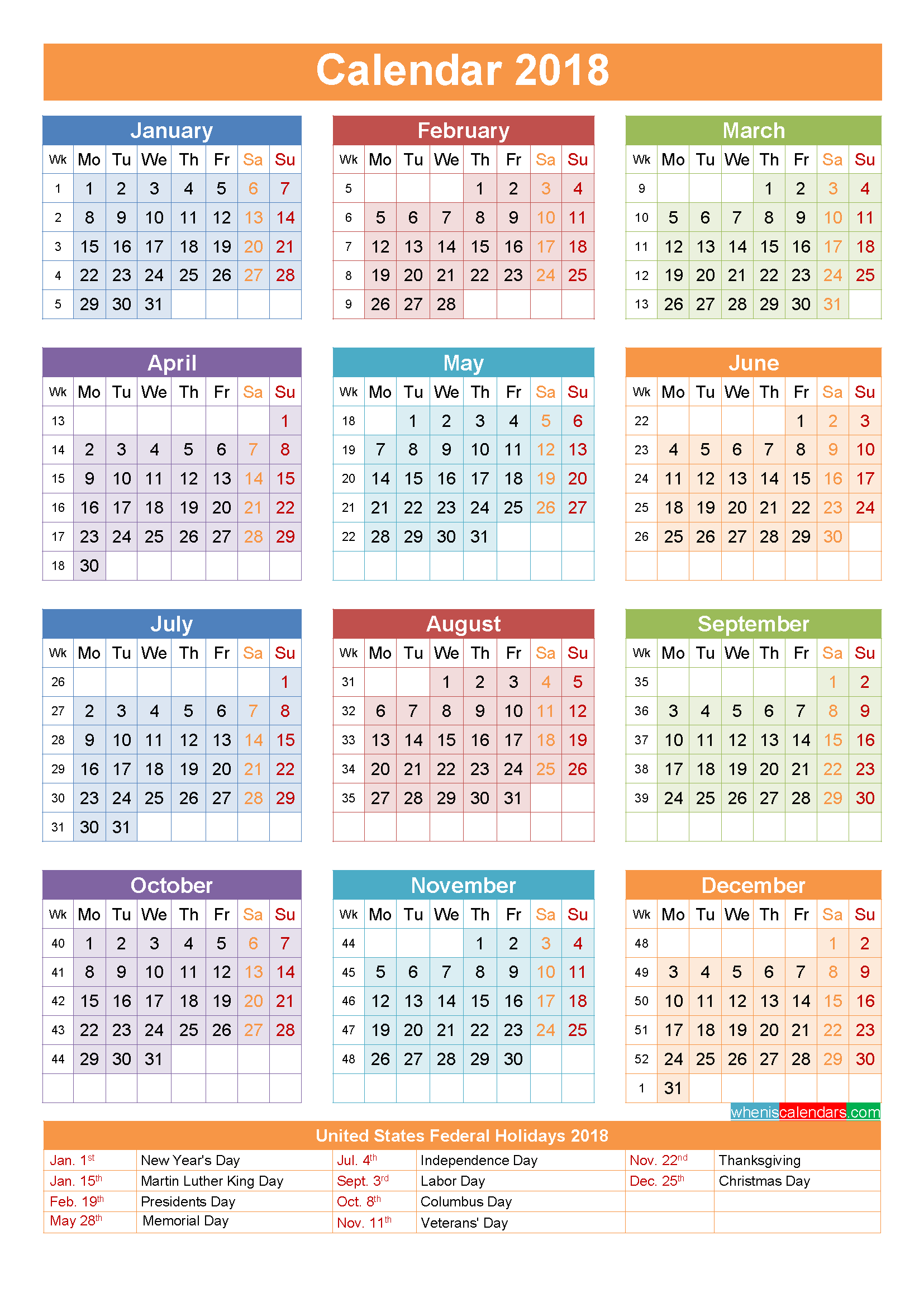 Free 2018 Calendar with Holidays Printable Yearly Template Portrait