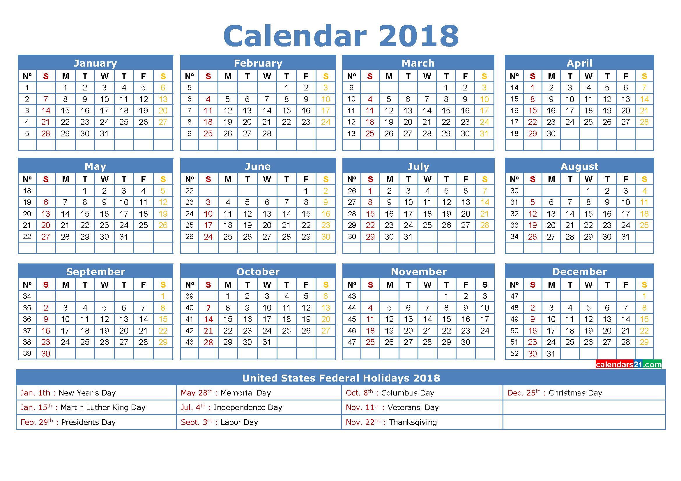 calendar with week numbers 2018 - Geocvc.co