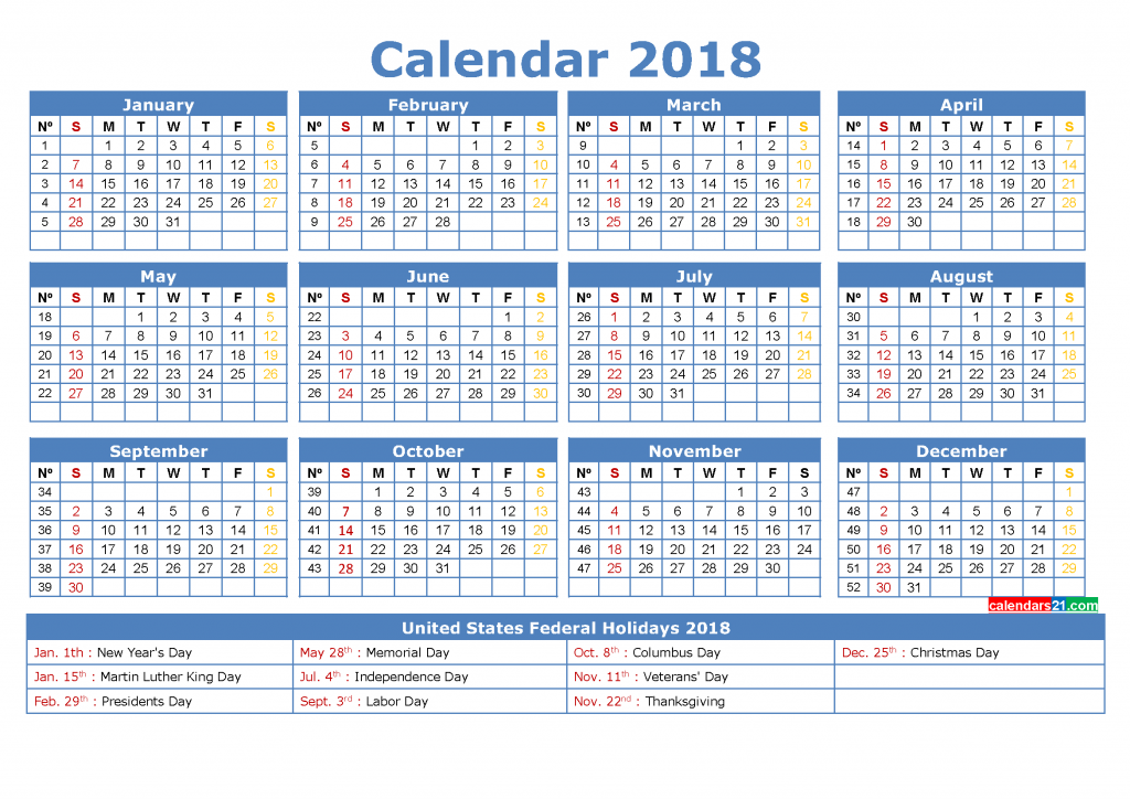 2018 Calendar with Week Numbers Printable PDF, Image