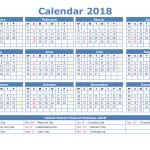 2018 Calendar with Week Numbers Printable PDF, Image