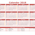 2018 Calendar with Week Numbers Printable Landscape