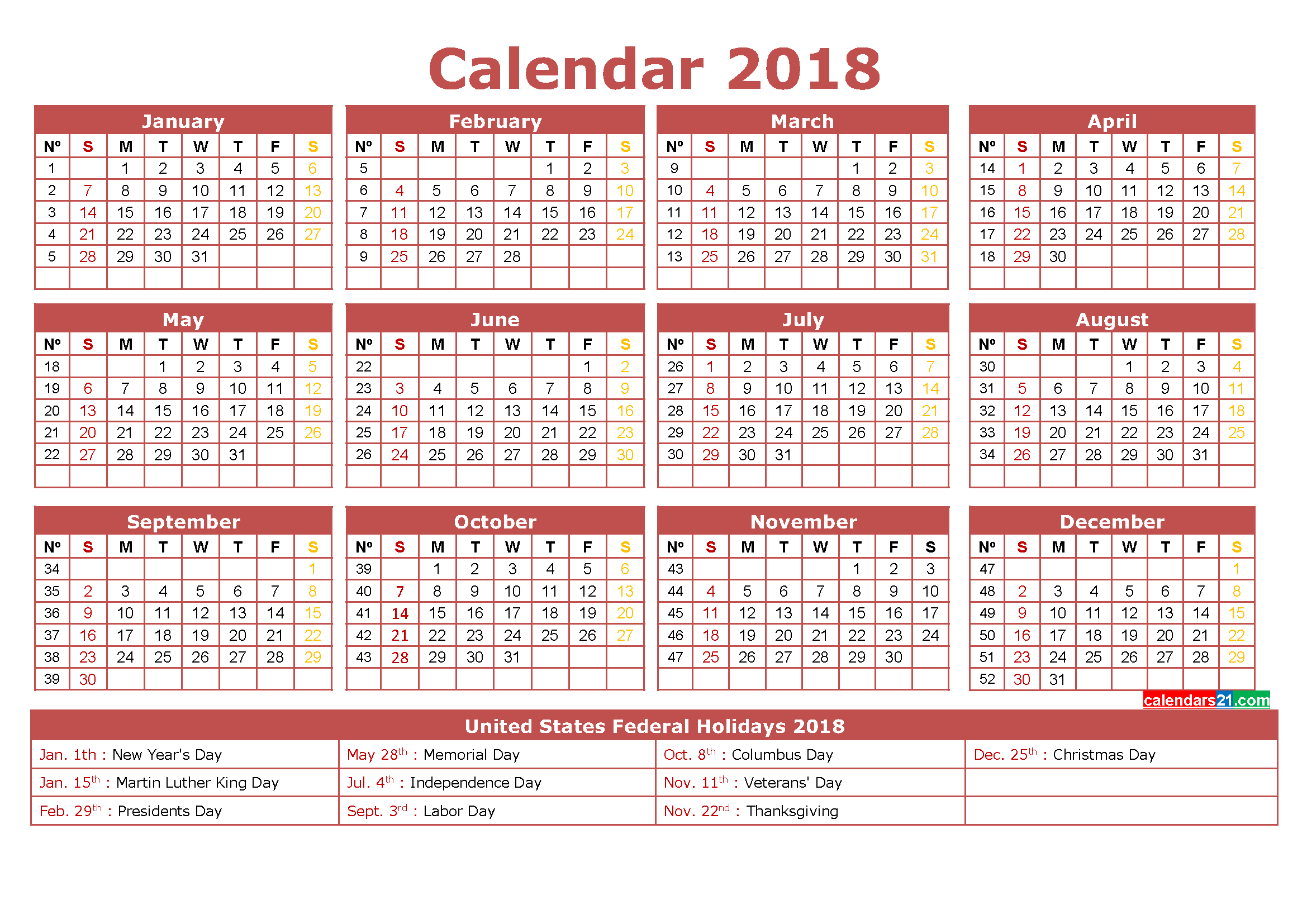 12 month 2018 Calendar with Week Numbers Printable