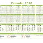 Full Year 2018 Calendar with Week Numbers Printable