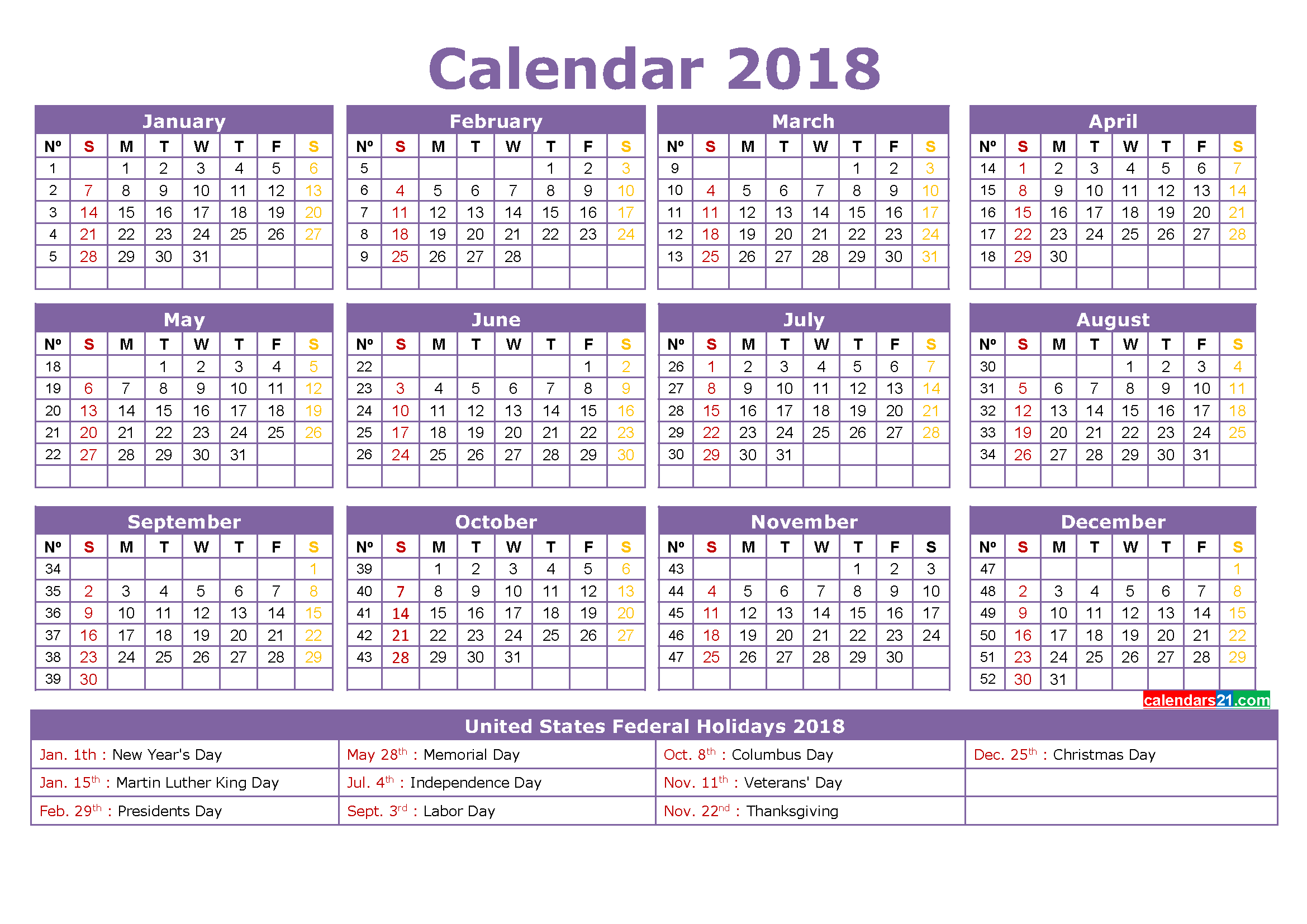 printable calendar 2018 with holidays full year calendar template