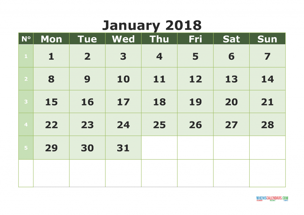 Printable Calendar January 2018 with week numbers, week day begin on Monday