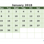 Printable Calendar January 2018 with week numbers (Monday)